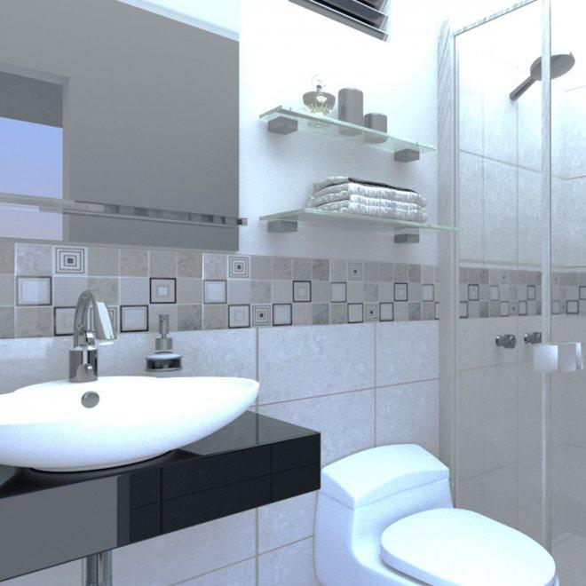 Diseño 3D baño para edificio Boyle